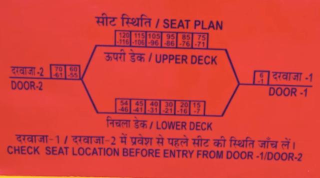 Double Decker Train Delhi to Jaipur Seating Plan