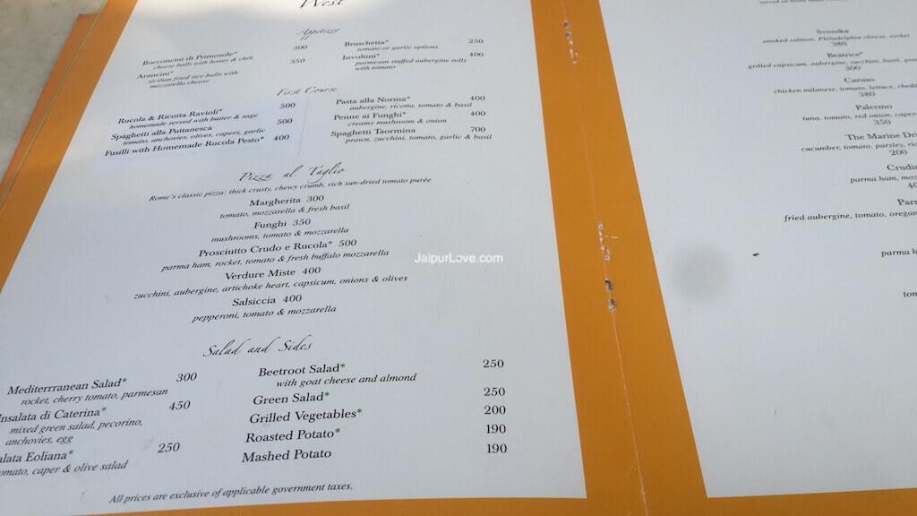 Caffe Palladio menu