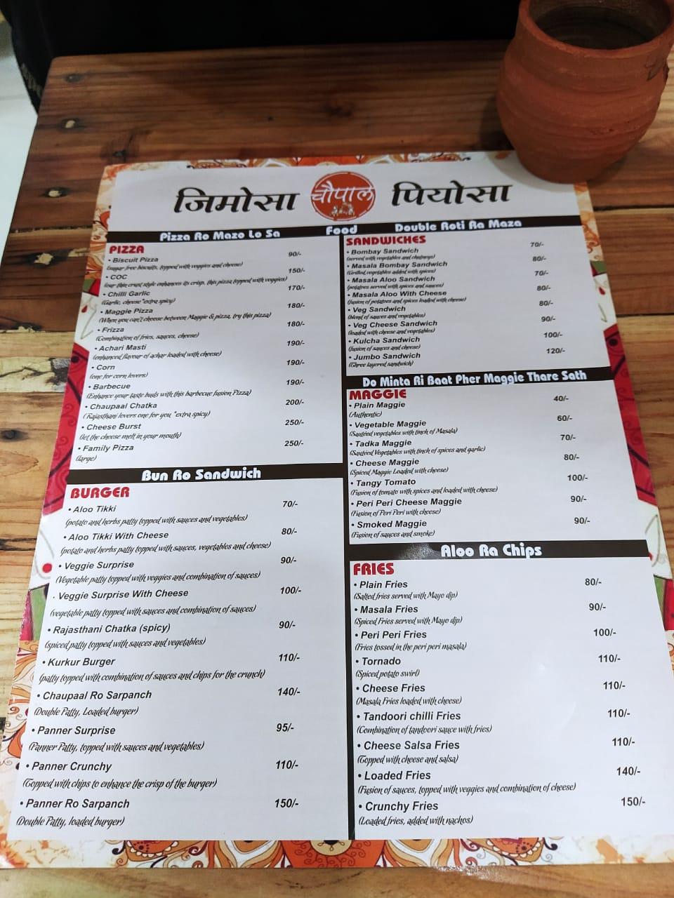 Menu at Chaupaal Cafe